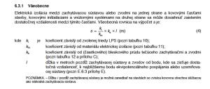 Vzorec výpočtu odstupovej vzdialenosti - bleskozvod